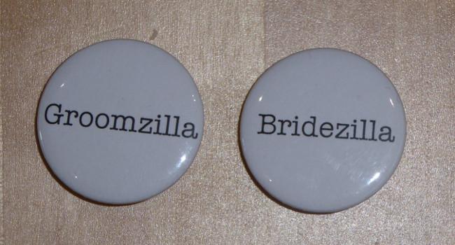 Bridezilla And Groomzilla Badges