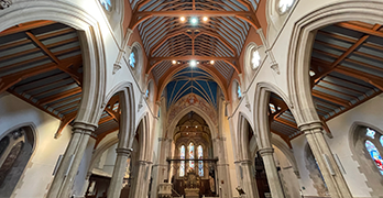 Wide-angle photograph of the Cathedral looking East